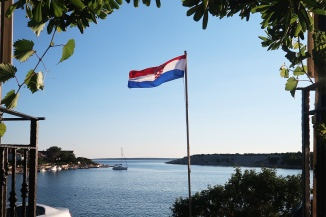 croatian-flag-overlooking-water