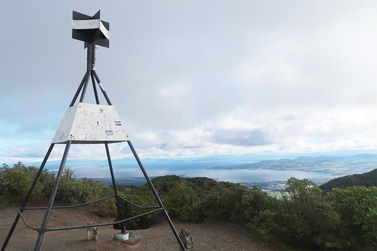 Trig station at summit of Mt Tauhara overlooking Lake Taupo