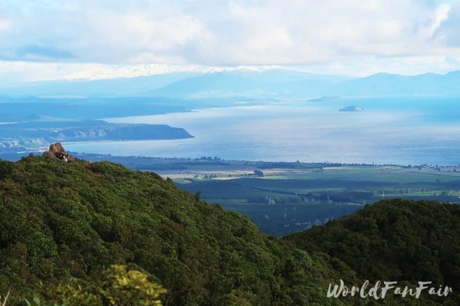 View across mountain to Lake Taupo