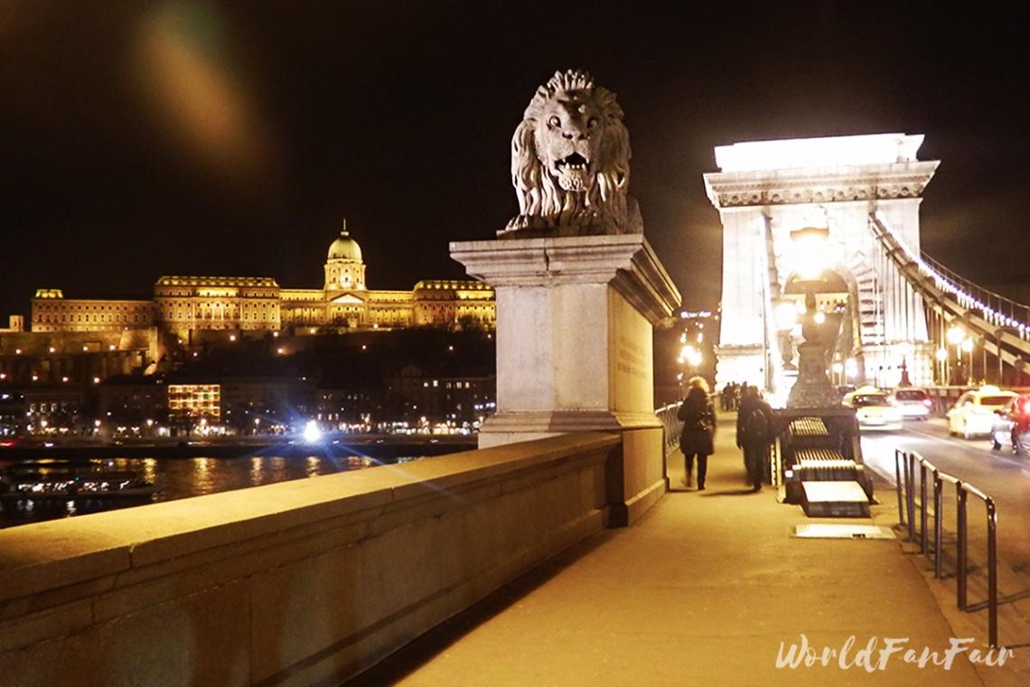 Budapest's Chain Bridge, Lion statue, and Buda Castle at night