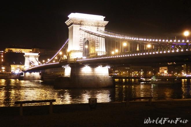 Chain Bridge lit up at night