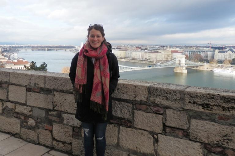 Nikki in front of Chain Bridge and Danube River