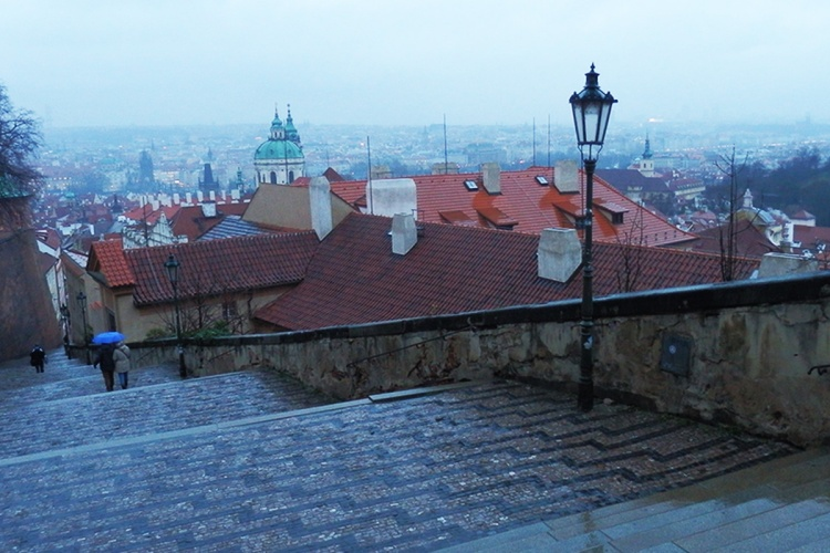 Prague old town in the rain